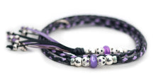 Kangaroo leather show lead in black & lavender - Emoticon