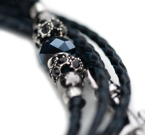 Kangaroo leather show lead in black & navy - Emoticon