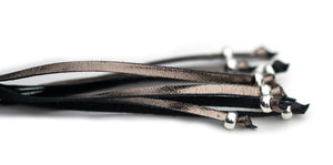 Kangaroo leather show lead in black & pewter