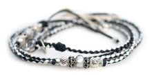 Kangaroo leather show lead in black, silver & white
