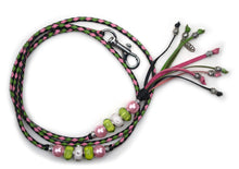 Kangaroo leather show lead in black, apple & soft pink