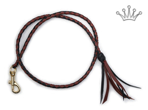 Kangaroo leather show lead in black & whisky - Emoticon Kangaroo Leather Show Leads