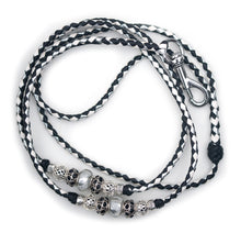 Kangaroo leather show lead in black, white & silver