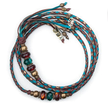 Kangaroo leather show lead in brandy, bronze & turquoise