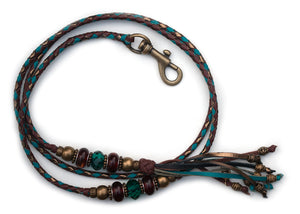 Kangaroo leather show lead in brandy, turquoise & bronze
