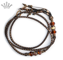 Kangaroo leather show lead in chocolate & bronze - Emoticon