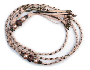 Kangaroo leather show lead in natural & bronze