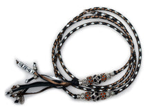 Kangaroo leather show lead in bronze, black & silver