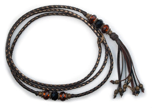 Kangaroo leather show lead in chocolate & bronze