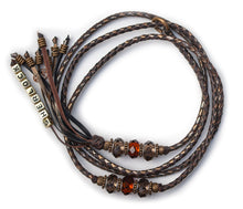Kangaroo leather show lead in chocolate, bronze & pewter
