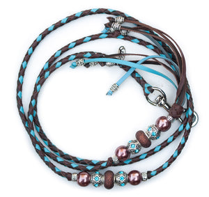 Kangaroo leather show lead in chocolate, dark brown & sky blue