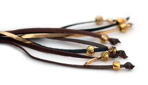 Kangaroo leather show lead in chocolate & gold