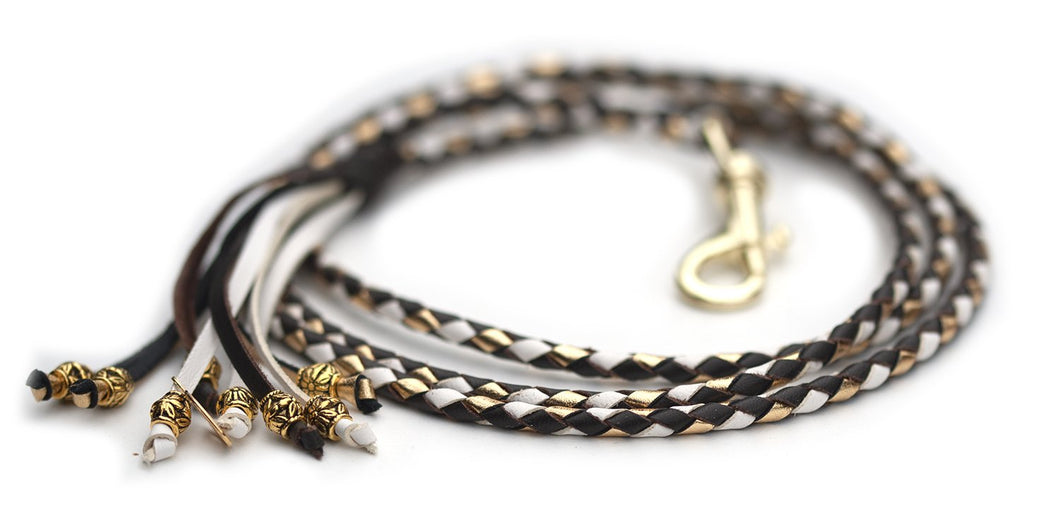 Kangaroo leather show lead in chocolate, white & gold