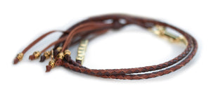 Kangaroo leather show lead in dark brown & whisky utställningskoppel