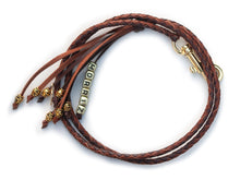 Kangaroo leather show lead in dark brown & whisky