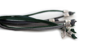 Kangaroo leather show lead in dark green & grey