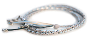 Kangaroo leather show lead in dove grey, baby blue & silver