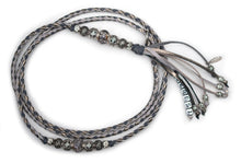 Kangaroo leather show lead in dove grey, grey & pewter