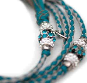 Kangaroo leather show lead in dove grey & turquoise