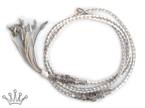 Kangaroo leather show lead in white & dove grey - Emoticon Kangaroo Leather Show Leads