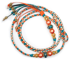 Kangaroo leather show lead in gold, orange & turquoise