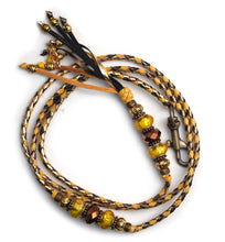 Kangaroo leather show lead in gold, yellow & bronze
