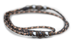 Kangaroo leather show lead in grey, natural & bronze