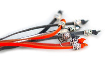 Kangaroo leather show lead in grey, silver & orange