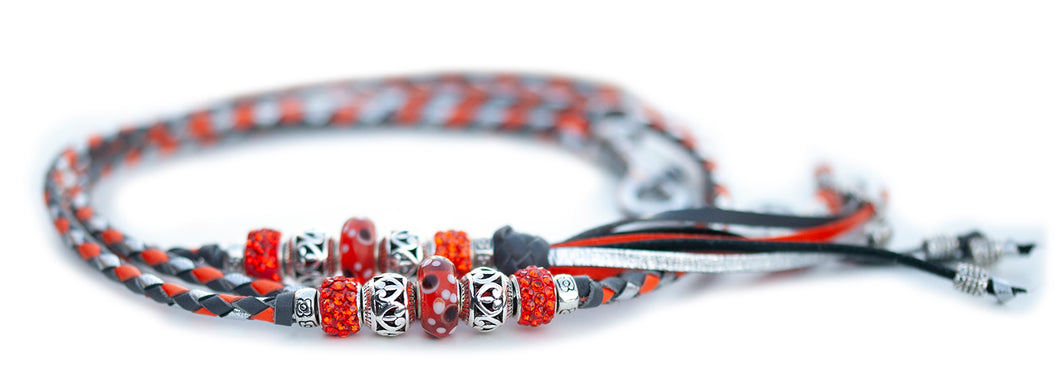 Kangaroo leather show lead in grey, orange & silver Utställningskoppel