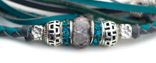 Kangaroo leather show lead in grey & turquoise - Emoticon Kangaroo Leather Show Leads