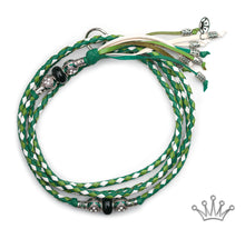 Kangaroo leather show lead in apple, jade & white - Emoticon