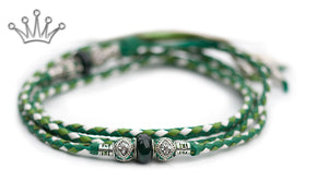 Kangaroo leather show lead in apple, jade & white