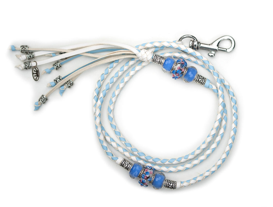 Kangaroo leather show lead in baby blue & white - Emoticon Kangaroo Leather Show Leads