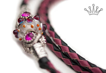 Kangaroo leather show lead in black & cerise - Emoticon Kangaroo Leather Show Leads