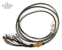 Kangaroo leather show lead in black & gold - Emoticon Kangaroo Leather Show Leads