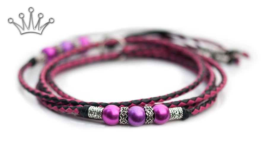 Kangaroo leather show lead in black & hot pink - Emoticon