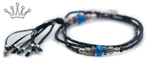 Kangaroo leather show lead in black, jacaranda & pewter - Emoticon