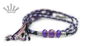Kangaroo leather show lead in black, purple & lavender - Emoticon