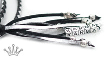 Kangaroo leather show lead in black & silver - Emoticon