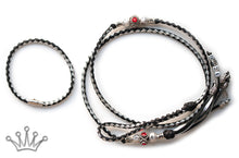 Kangaroo leather show lead in black & silver - Emoticon Kangaroo Leather Show Leads