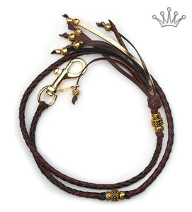 Kangaroo leather show lead in brandy & chocolate - Emoticon
