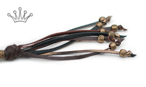 Kangaroo leather show lead in bronze & chocolate - Emoticon