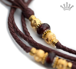 Kangaroo leather show lead in chestnut - Emoticon Kangaroo Leather Show Leads