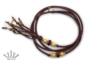 Kangaroo leather show lead in chestnut - Emoticon