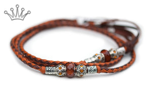 Kangaroo leather show lead in dark brown & saddle tan - Emoticon Kangaroo Leather Show Leads