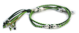 Kangaroo leather show lead in dark green & apple - Emoticon