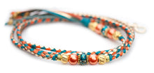 Kangaroo leather show lead in gold, orange & turquoise - Emoticon Kangaroo Leather Show Leads