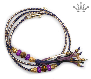 Kangaroo leather show lead in gold & purple - Emoticon Kangaroo Leather Show Leads