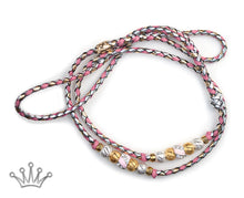 Kangaroo leather show lead in gold, silver & soft pink - Emoticon Kangaroo Leather Show Leads