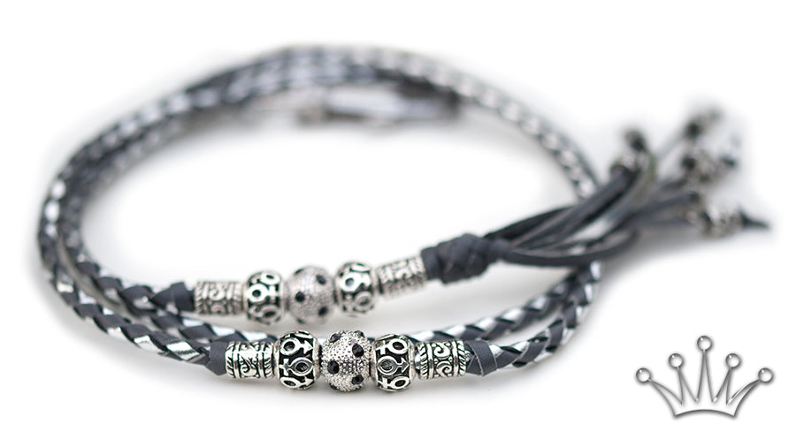 Kangaroo leather show lead in grey & silver - Emoticon Kangaroo Leather Show Leads